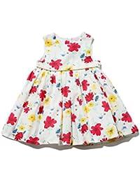 M&Co Baby Girl 100% Cotton White Base Multi-coloured Floral Print Metallic Trim Prom Dress