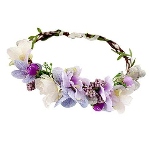 YAZILIND Corona Tocado Bohemio Estilo púrpura Guirnalda de Flores Dia