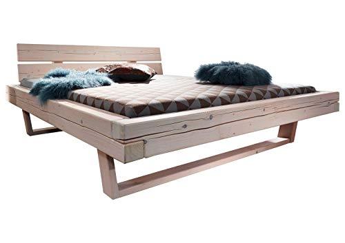 Bettgestell Massivholzbett Doppelbett | 180 x 200 cm | Weiß | Fichtenholz massiv
