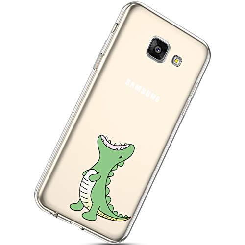 Handyhülle Kompatibel mit Galaxy A7 2017 Schutzhülle Transparent Weiche Silikon Durchsichtig Schutzhülle Muster Crystal Silikonhülle Ultradünnen TPU Handy Tasche Stoßfest Bumper Case,Grün Dinosaurie
