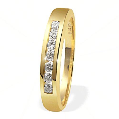 goldmaid Damen-Ring Gelb Gold 585 7 Diamanten Lupenrein 0,25 Karat Memoire Grösse 54 Me R054GG54...