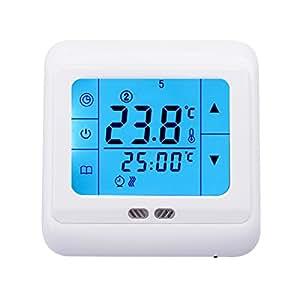 digital raumtemperaturregler temperaturregler mit lcd touchscreen fu bodenheizung heizung blau. Black Bedroom Furniture Sets. Home Design Ideas