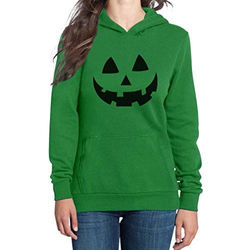 Gesicht Bestes Halloween Kostüm Frauen Kapuzenpullover Hood XX-Large Grün ()