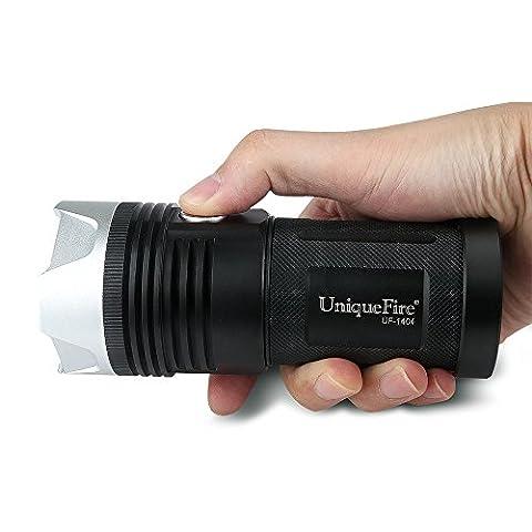 Uniquefire Torche LED Lampe de Poche Antichoc étanche 3 Modes De Luminosité , 3000lm Puissante Lampe Poche Parfait Pour Camping, Randonnée ou Sports de Plein Air