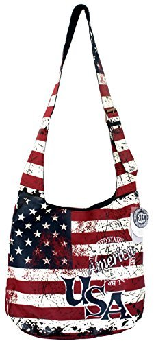 47d350ef65bd7 Robin Ruth USA Vintage Flag Crossbody Sling Bag Blue Red White