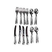 Thumbelin 12Pcs Knife And Fork Tableware Set Mini House Crafts Miniature Play Scene 1:12 Model Doll House Accessories Decoration