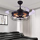 Weinlese-industrielles unsichtbares Deckenventilator-Licht 42 Zoll mit Fernbedienung einziehbarer Innen-LED stiller unsichtbarer Ventilator-Decken-Leuchter