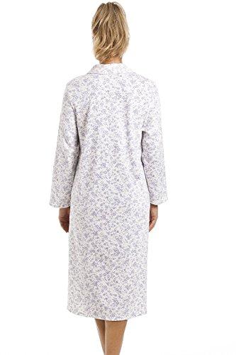 Camille - Camicia da notte classica a maniche lunghe con chiusura a bottoncini - cotone - bianco con motivo floreale blu Bianco