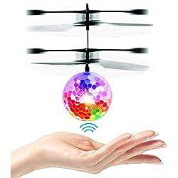 UTTORA Mini Drone, Hélicoptères Ballon LED, Mini RC de Vol Jouets avec LED Colorées, Jouet Infrarouge Induction Capteurs Rechargeable, Contrôlée à la Main Jouet Volant pour Les Enfants Adultes