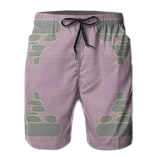 3D Print Cairn Rocks On Plum Fabric (3164) Shorts Fast Dry Beach Board Shorts Men's Swim Trunks (L) Plum-zebra