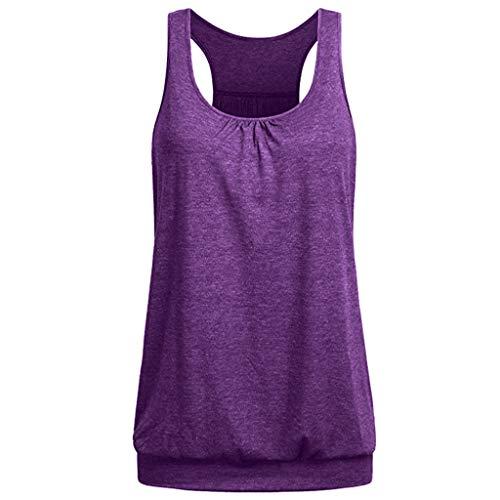 TUDUZ Damen Große Größe Camisole Rundhals Falten T-Shirt Weste Bluse Ärmellos Stretch Tunika Top (Lila, S) Sommer Kleid Set