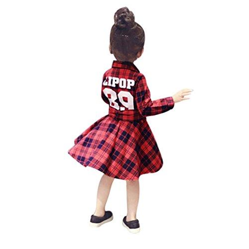 Plaid Bow Gürtel Kleid Kinder, DoraMe Baby Mädchen Verband Lange ärmel Brief Druck Kleid Mode Knopf Kleidung (Rot, 4 Jahr) (Kleid Schwarzes 4-knopf-anzug)