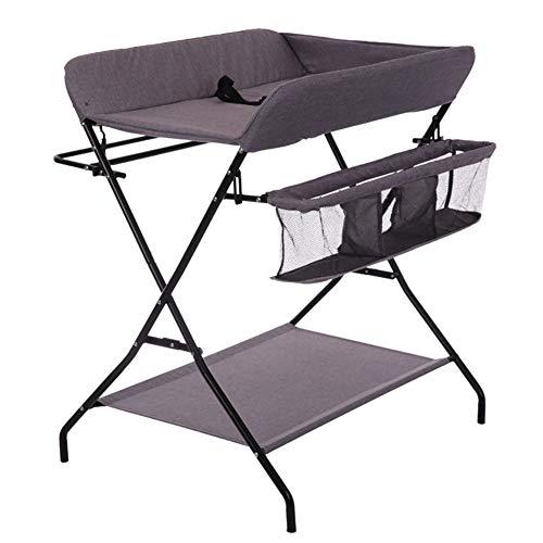 Tables à langer Table à langer pliante pour bébé, station de couche-culotte portable pour garçon avec garçon, organisateur pour pépinière de style croisé (Couleur : Gray)