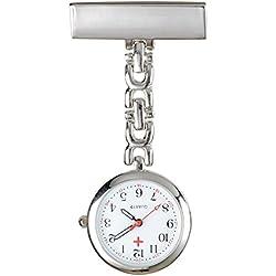 SSITG Watch Nurse Quartz Clock Care Heart Rate Monitor Watch Silver Metal