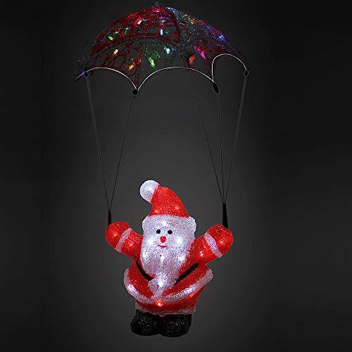 Deuba LED Acryl Figur Weihnachtsdeko Beleuchtung Weihnachten Weihnachtsmann Fallschirm Indoor Outdoor