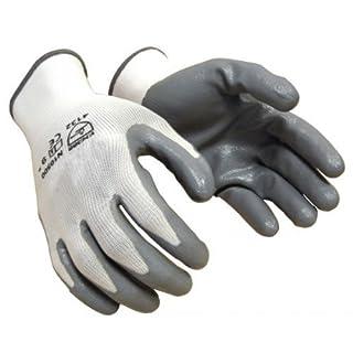 36 pairs, Nitrile Coated Work Gloves- White 13 Gauge Nylon, Grey Nitrile Palm (Large) by AZUSA SAFETY