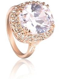 FASHION PLAZA Femme Plaqué Or Or18 Carats beaucoup de Swaroski Cristal Diamant d'imitation Bague de fiançailles R306 (Taille 58)