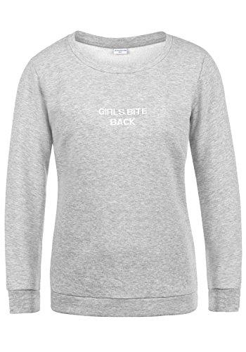 JACQUELINE de YONG by ONLY Taylor Damen Sweatshirt Pullover Sweater mit Rundhals-Ausschnitt und Stickerei aus hochwertiger Baumwollmischung, Größe:XL, Farbe:Light Grey Melange