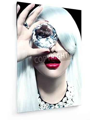 Diamant - 60x90 cm - Textil-Leinwandbild auf Keilrahmen - Wand-Bild - Kunst, Gemälde, Foto, Bild auf Leinwand - Menschen (Haar-salon-wand-kunst)