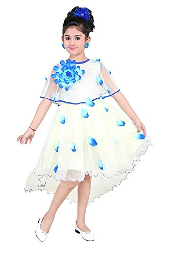 YAYAVAR Girls Net Made Off White & Sky Blue Colored Casual/Party Wear...