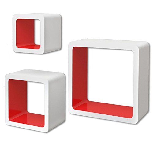 vidaXL 3 Etagères cubes murales en MDF Blanc-Rouge Stockage rangement pour Livres/DVD