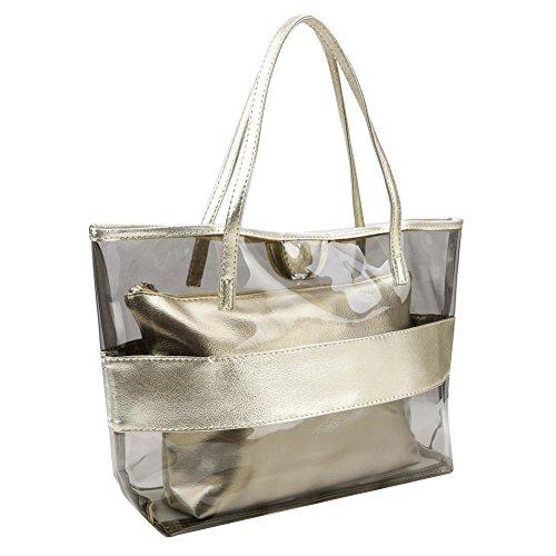 Zicac Damen Handbag 2-Tasche Fashion Freizeit Sandstrand Handtasche Durchsichtig Taschen (Gold)