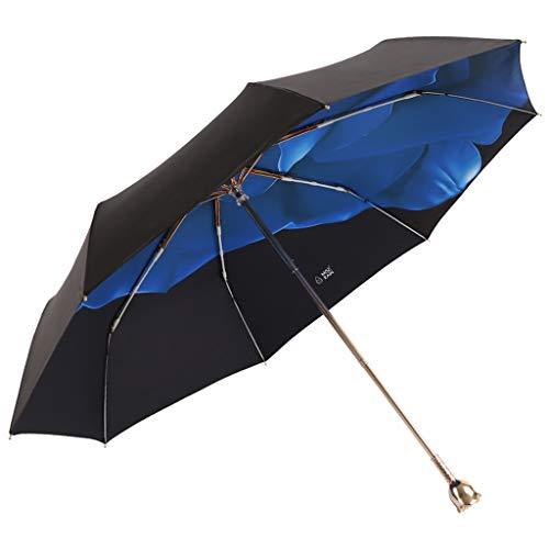 Parasols à poignées Roses Parasols parasols Parasols Pluie et Pluie Parasols pliants à Double Usage Trois Couleurs Disponibles YDOZ (Color : Blue)