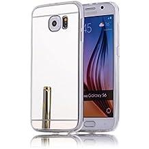 DBIT Galaxy S6 Funda, Gel Espejo TPU Silicona Ultra delgado Protección Funda Durable Estuche Carcasa Case para Samsung Galaxy S6,Plata