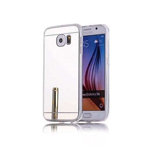 Produktbild DBIT Galaxy S6 hülle, Schlank Handy-Gehäuse Hülle Spiegel TPU Case Schutzhülle Silikon Case Tasche Für Samsung Galaxy S6,Silber