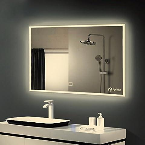 Anten 25W Miroir LED Mural Salle de Bain Eclairage Lampe de Miroir 100 x 60 cm Intégré Commutateur Tactile Coiffeuse Lumineux Anti-déflagrant Blanc Naturel 4000K Rectangulaire en Verre Epaisseur