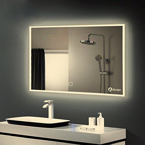 Anten® LED Badspiegel mit Beleuchtung 25W neutralweiß IP44 Badezimmerspiegel mit Sensor-Schalter 60×100 cm