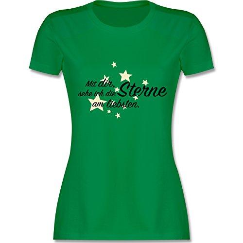 Familie - Spruch Freundschaft -Sterne - tailliertes Premium T-Shirt mit Rundhalsausschnitt für Damen Grün