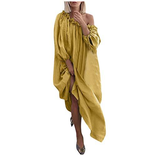 Floweworld Damen Maxikleider Plus Size Off-Shoulder Floral Bedruckte Lange Kleider Täglich Lässig Offene Schulter Vintage Loose Beach Lange Kleider (Kleid Tank Silk)