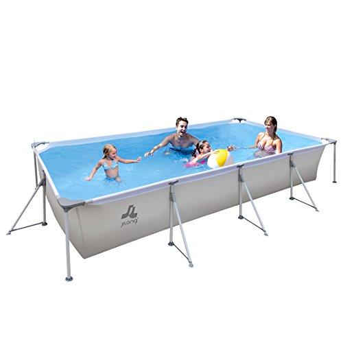 Jilong eckiger Stahlrahmen XXL Familien Pool 4x2 m Stahlrahmenbecken Garten Schwimmbecken Schwimmbad Planschbecken, Grau 282