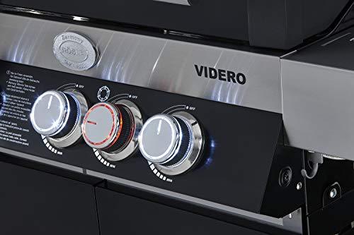 RÖSLE BBQ-Station Videro G6, Stahl schwarz, 157 x 60 x 118 cm, 5 Hauptbrenner, 1 Primezone, 1 Seitenbrenner, Deckel mit Glaseinsatz & Thermometer, beleuchtete Drehknöpfe