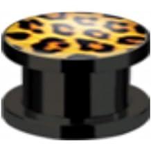 Flesh Ohr Tunnel Plug Piercing Kunststoff Leopard Leo Look mit Schraubverschluß