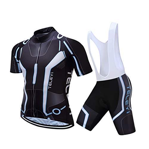 GWELL Herren Radtrikot Atmungsaktive Fahrradbekleidung Set Trikot Kurzarm + Radhose mit Sitzpolster für Radsport Schwarz (Set mit weißer Trägerhose) 2XL