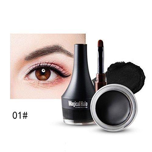 Eyeliner,Cocohot Frauen Professionelle Schwarz 24 Stunden langlebige Wasserdicht Eyeliner Creme Make-Up Kosmetische Gel Eye Liner Mit Pinsel