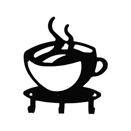 Fellibay Haken Key Rack Wand montiert Schlüsselhalter Kaffeetasse Form Aufhänger Key Organizer mit 3Haken Home Kitchen Restaurant Coffee Shop Dekoration (Metall-schlüssel-wand-dekor Große)