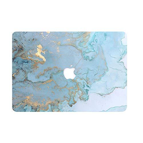 AQYLQ MacBook Schutzhülle/Hard Case Cover Laptop Hülle [Für 2018 MacBook Air 13 Zoll Retina: A1932], Ultradünne Plastik Matt Gummierte Hartschale Schutzhülle, DL41 Blue Marmor - Bottom Case Gehäuse