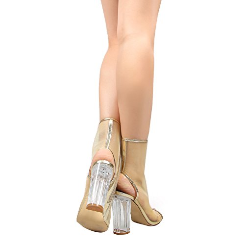 Damen Peep Toe Gaze Sandalen High-Heels Transparent Blockabsatz mit Reißverschluss Gold