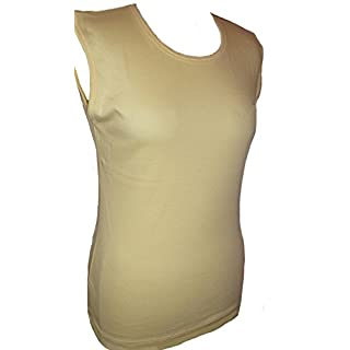 Yellow Soft Cotton Sleeveless Vest Top Plain Size 16/18 Gym