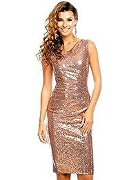 dd1d00e8486c04 Fashion Edles Paillettenkleid Glitzer Cocktailkleid Abendkleid mit  Pailletten Bestickt