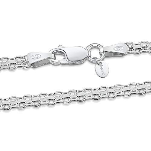 Amberta 925 Sterlingsilber Halskette - Bismarck Kette - 2.2 mm Breite - Verschiedene Längen: 40 45 50 55 60 cm (45cm)