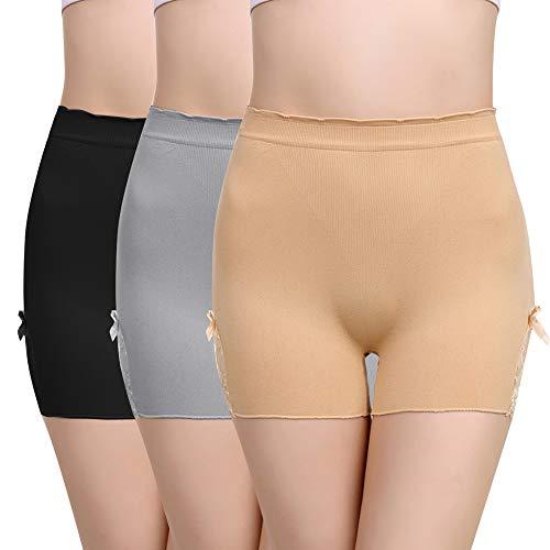 Vertvie Femme 1/3 Pièces sous-vêtement Boxer Slip Culotte de Sécurité Invisible Soie Glacée Shorties Seamless Doux pour Robe Ju