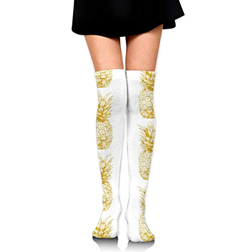 Gold Pineapples On White Women's Over Knee Thigh Socks Girl High Stockings 65 Cm/25.6In -