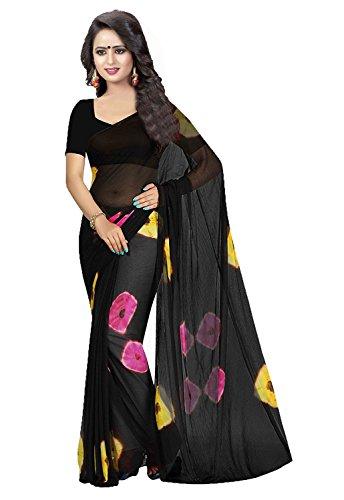 Amyaa Fashion Chiffon Saree (Black, Free Size)