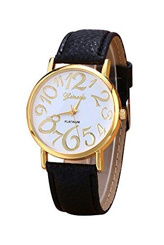 Reloj de pulsera - Geneva reloj de pulsera unisex de banda de cuero de imitacion de esfera de numeros arabes - Negro