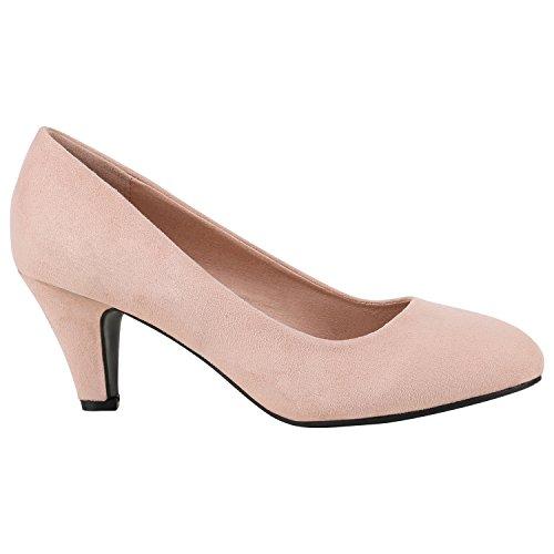 Klassische Damen Schuhe Pumps Stiletto Absatz Abend Schuhe Leder-Optik 156938 Rosa Velours 38 Flandell
