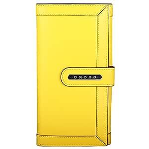 Cross® Women's 100% Genuine Leather Large Bifold Clutch- Yellow